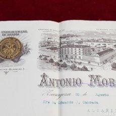 Factures anciennes: FACTURA LA INDUSTRIAL DE ARAGÓN FÁBRICA DE HARINAS ANTONIO MORÓN 1916 ZARAGOZA. Lote 274194233