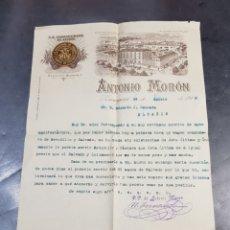 Facturas antiguas: LA INDUSTRIAL DE ARAGÓN FACTURA ANTONIO MORÓN ZARAGOZA 1916 CON VISTAS EN EL GRABADO DE LA CIUDAD. Lote 274549343