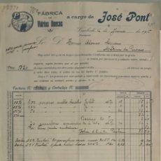 Factures anciennes: JOSÉ PONT. FÁBRICA DE VIDRIOS HUECOS. VIMBODI. TARRAGONA. ESPAÑA 1915. Lote 274619788