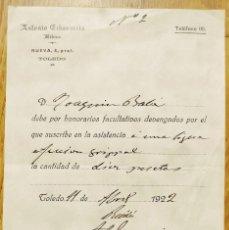 Factures anciennes: TOLEDO - FACTURA MEDICO ANTONIO ECHEVARRIA - 1922. Lote 274852468