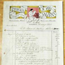 Fatture antiche: HOJA COMERCIAL - FACTURA - IMPRENTA JOAN SALLENT - SABADELL 1924. Lote 275216343