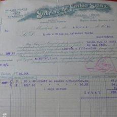 Facturas antiguas: MADRID ALMACEN DE VIDRIOS PLANOS LUNAS Y FANALES SOBRINO DE TORIBIO SAINZ FACTURA 1930. Lote 275899773