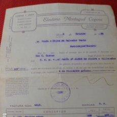 Facturas antiguas: ALCIRA VALENCIA COMPRA Y VENTA DE ARROZ ALUBIAS CHUFAS ELEUTERIO MONTAGUD FACTURA 1930. Lote 275904528