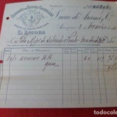 Facturas antiguas: ARANJUEZ MADRID ALMACEN DE FRUTOS COLONIALES EL ANCORA FACTURA 1930. Lote 275904588