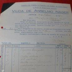 Facturas antiguas: JATIVA VALENCIA FABRICA DE CARETAS Y CABALLOS DE CARTON VIUDA DE ANSELMO NAGER FACTURA 1930. Lote 275904718