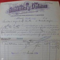 Facturas antiguas: ALBACETE COLONIALES SALAZONES ACEITES DE GIMENEZ Y DALMAU FACTURA 1912. Lote 275905118