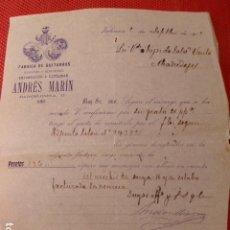 Faturas antigas: VALENCIA FABRICA DE GUITARRAS DE ANDRES MARIN FACTURA 1912. Lote 275905443