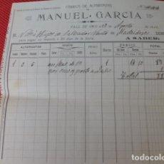 Facturas antiguas: VALL DE UXO CASTELLON FABRICA DE ALPARGATAS DE MANUEL GARCIA FACTURA 1912. Lote 275905908
