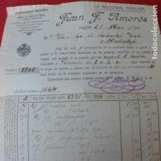Facturas antiguas: VILLENA ALICANTE LA INDUSTRIAL PAPELERA JUAN F. AMORÓS FACTURA 1912. Lote 275906323