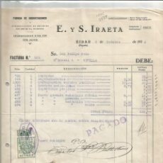 Faturas antigas: E. Y S. IRAETA. FÁBRICA DE INCRUSTACIONES. AUXILIO A NECESITADOS.SEVILLA 10CTS. FACTURA EIBAR 1938. Lote 275909768