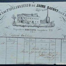 Factures anciennes: EL CATLLAR TARRAGONA FABRICA DE PAPEL CONTINUO DE JAIME SAFONT 1857. Lote 276520248