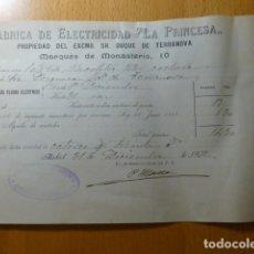 Facturas antiguas: MADRID 1902 FABRICA DE ELECTRICIDAD LA PRINCESA FACTURA DUQUESA VIUDA DE TERRANOVA. Lote 276611988