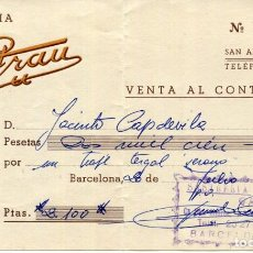 Facturas antiguas: SAN ANDRES DE PALOMAR -SASTRERIA GRAU- FACTURA DE VENTA DE UN TRAJE TERGAL-AÑO 1961. Lote 276651118