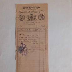 Faturas antigas: FACTURA DEL GRAN HOTEL INGLÉS, ECHEGARAY 10, MADRID, 12 DE OCTUBRE DE 1899.. Lote 276692763