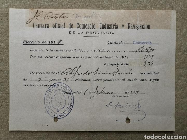 RECIBO CÁMARA OFICIAL DE COMERCIO INDUSTRIA Y NAVEGACIÓN PROVINCIA DE SANTANDER (CANTABRIA) AÑO 1919 (Coleccionismo - Documentos - Facturas Antiguas)