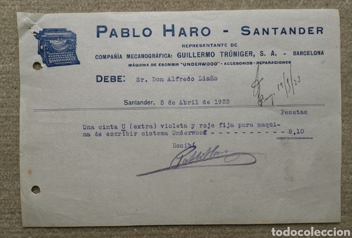 ANTIGUA FACTURA PABLO HARO MÁQUINAS DE ESCRIBIR UNDERWOOD - SANTANDER (CANTABRIA) AÑO 1920 (Coleccionismo - Documentos - Facturas Antiguas)