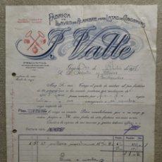 Faturas antigas: ANTIGUA FACTURA FABRICA DE LLAVES DE ALAMBRE PARA LATAS DE CONSERVA F. VALLE - GIJON (ASTURIAS) 1917. Lote 276809083