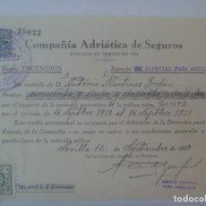 Facturas antiguas: COMPAÑIA ADRIATICA DE SEGUROS , RAMO INCENDIOS: RECIBO POLIZA. SEVILLA, 1938. VIÑETAS. Lote 277238953