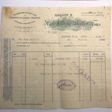 Facturas antiguas: FACTURA, HIJO DE JOSÉ BELLOT FONS, IMPORTADOR DE BACALAO Y ALMACÉN DE SALAZONES, VALENCIA (A.1939). Lote 277266743