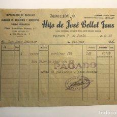 Facturas antiguas: FACTURA, HIJO DE JOSÉ BELLOT FONS, IMPORTADOR DE BACALAO Y ALMACÉN DE SALAZONES, VALENCIA (A.1939). Lote 277267913