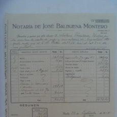 Facturas antiguas: FACTURA DE NOTARIA DE JOSE BALBUENA . SEVILLA, 1935. Lote 277287768