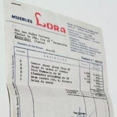 Facturas antiguas: FACTURAS *MUEBLES LORA** ESTACION SAN ROQUE / ALGECIRAS (CADIZ) 1975. Lote 277517213