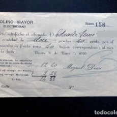 Facturas antiguas: ALCAÑIZ 1920 / MOLINO MAYOR - ELECTRICIDAD / FACTURA SUMINISTRO FLUIDO PARA 40 BUJÍAS / TERUEL. Lote 277526813