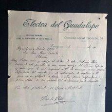 Facturas antiguas: ZARAGOZA 1918 / ELECTRA DEL GUADALOPE / ELECTRICIDAD / AGUAVIVA / TERUEL. Lote 277527288