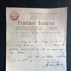 Facturas antiguas: ZARAGOZA 1916 / FROILÁN SOLANS / FÁBRICA DE CAMAS METÁLICAS. Lote 277528178