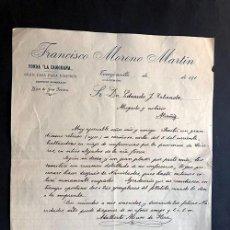 Facturas antiguas: TORREJONCILLO 1918 / FONDA LA ZAMORANA / JOSÉ MORENO MARTÍN / CÁCERES. Lote 277600633