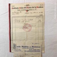 Facturas antiguas: LOTE 2 FACTURAS. GUERRA CIVIL ESPAÑOLA. C.N.T. Y U.G.T. SINDICATO DE LA MADERA Y MUDANZAS. 1937-38.. Lote 277617168
