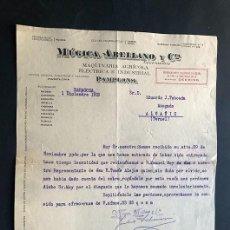 Facturas antiguas: PAMPLONA 1919 / MÚGICA ARELLANO Y CIA / MAQUINARIA AGRÍCOLA ELÉCTRICA E INDUSTRIAL / NAVARRA. Lote 277619788