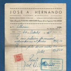 Facturas antiguas: DOCUMENTO FACTURA JOSE A. HERNANDO CANTERO MARMOLISTA VALLADOLID 1941. Lote 278704508