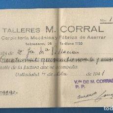 Facturas antiguas: DOCUMENTO PAGARE TALLERES M. CORRAL CARPINTERIA MECANICA FABRICA DE ASERRAR VALLADOLID 1941. Lote 278704768