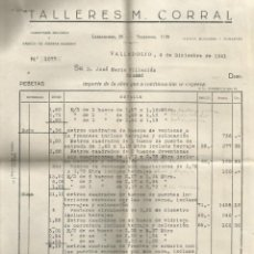 Facturas antiguas: DOCUMENTO FACTURA TALLERES M. CORRAL CARPINTERIA MECANICA FABRICA DE AASERRAR VALLADOLID 1941. Lote 278704973