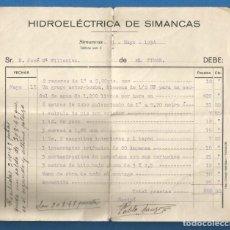Facturas antiguas: DOCUMENTO FACTURA HIDROELECTICA DE SIMANCAS (VALLADOLID) 1934. Lote 278754693