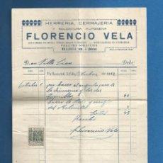 Facturas antiguas: DOCUMENTO FACTURA HERRERIA CERAJERIA FLORENCIO VELA VALLADOLID 1942. Lote 278754773