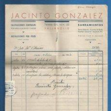Facturas antiguas: DOCUMENTO FACTURA JACINTO GONZALEZ SANEAMIENTOS VALLADOLID 1942. Lote 278754878