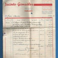 Facturas antiguas: DOCUMENTO FACTURA JACINTO GONZALEZ SANEAMIENTO VALLADOLID 1946. Lote 278759558