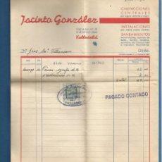 Facturas antiguas: DOCUMENTO FACTURA JACINTO GONZALEZ SANEAMIENTO VALLADOLID 1943. Lote 278759693