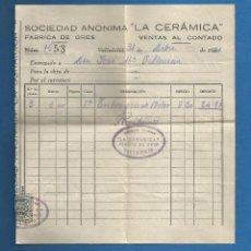 Facturas antiguas: DOCUMENTO FACTURA SOCIEDAD ANONIMA LA CERAMICA VALLADOLID 1941. Lote 278759808