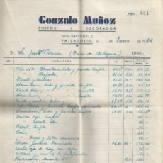 Facturas antiguas: DOCUMENTO FACTURA GONZALO MUÑOZ PINTOR DECORADOR (VALLADOLID) 1942 MAS SOBRE DE REGALO. Lote 278760298