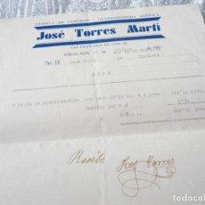 Facturas antiguas: ANTIGUA FACTURA.FABRICA CURTIDOS.GUARNIMENTERA.JOSE TORRES MARTÍ. IGUALADA BARCELONA 1939.. Lote 278761253