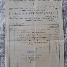 Facturas antiguas: ANTIGUA FACTURA.LAMPISTERIA-ELECTRICIDAD.VIUDA ANTONI CANALS.IGUALADA BARCELONA 1936. Lote 278761398