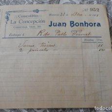 Facturas antiguas: ANTIGUA FACTURA.COMESTIBLES LA CONCEPCION.JUAN BONHORA.MANRESA 1911. Lote 278761738