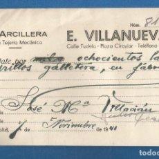 Facturas antiguas: DOCUMENTO FACTURA VALE E. VILLANUEVA GRAN TEJERIA MECANICA VALLADOLID 1941. Lote 278797353
