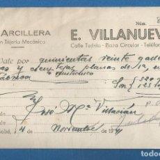 Facturas antiguas: DOCUMENTO FACTURA VALE LA ARCILLERA GRAN TEJERIA MECANICA VALLADOLID 1941. Lote 278797498