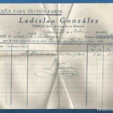 Facturas antiguas: DOCUMENTO FACTURA CAÑA PARA TECHOS RASOS LA DISLAO GONZALEZ VALLADOLID 1942. Lote 278797628