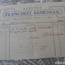 Facturas antiguas: ANTIGUA FACTURA.ACEITES.FRANCISCO ARMENGOL.VILANOVA DEL CAMI.BARCELONA 1937. Lote 278833433