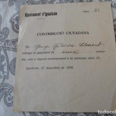 Facturas antiguas: ANTIGUO RECIBO CONTRIBUCION.AYUNTAMIENTO DE IGUALADA.BARCELONA 1936. JOSEP FERRER LLORENT. Lote 278833988